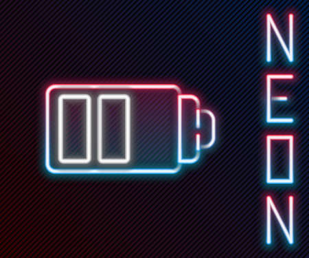 Glowing neon line Battery charge level indicator icon isolated on black background. Colorful outline concept. Vector Illustration.