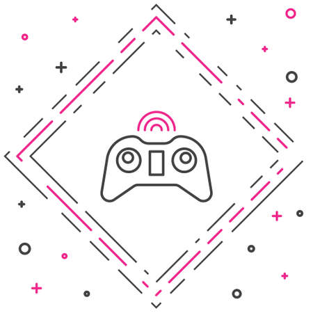 Line Wireless gamepad icon isolated on white background. Game controller. Colorful outline concept. Vector Illustration.