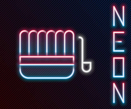 Glowing neon line Sauna bucket and ladle icon isolated on black background. Colorful outline concept. Vector Illustration. Ilustrace