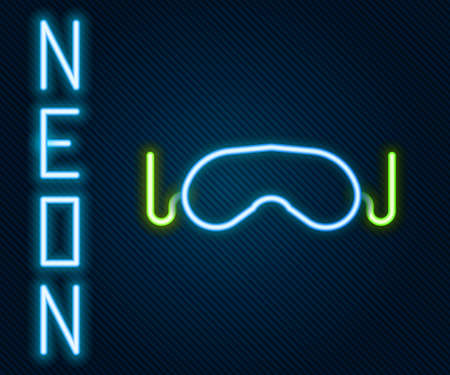 Glowing neon line Eye sleep mask icon isolated on black background. Colorful outline concept. Vector Illustration. Ilustrace