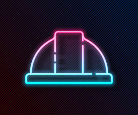Glowing neon line Worker safety helmet icon isolated on black background. Vector Illustration. Ilustrace