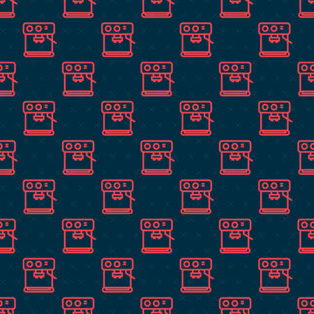 Red line Coffee machine icon isolated seamless pattern on black background. Vector Illustration.
