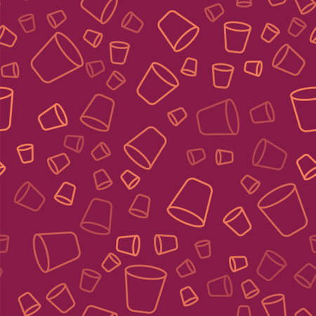 Brown line Trash can icon isolated seamless pattern on red background. Garbage bin sign. Recycle basket icon. Office trash icon. Vector Illustration. 일러스트