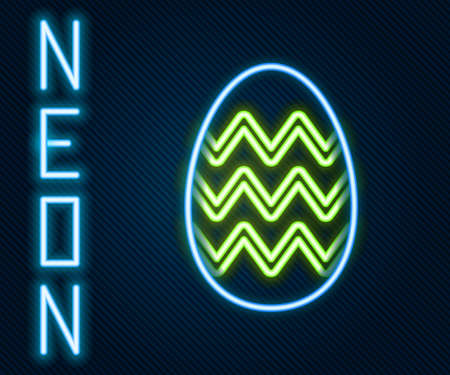 Glowing neon line Easter egg icon isolated on black background. Happy Easter. Colorful outline concept. Vector Illustration.  イラスト・ベクター素材