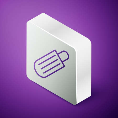 Isometric line French hot dog icon isolated on purple background. Sausage icon. Fast food sign. Silver square button. Vector Illustration. 일러스트