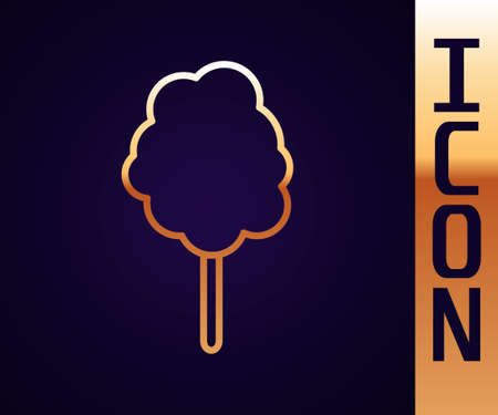 Gold line Cotton candy icon isolated on black background. Vector Illustration.
