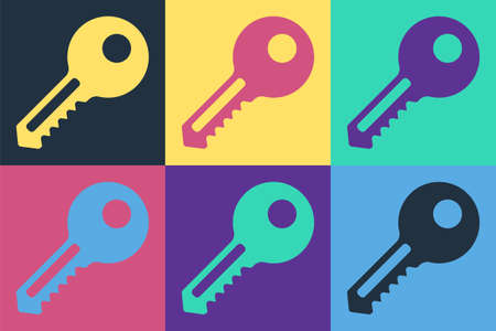Pop art Key icon isolated on color background. Vector Illustration.