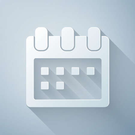 Paper cut Calendar icon isolated on grey background. Event reminder symbol. Paper art style. Vector Illustration.
