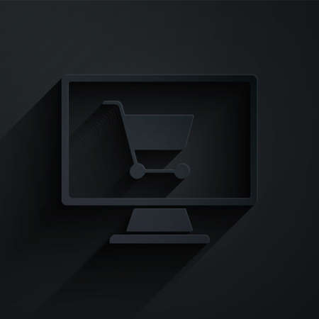 Paper cut Shopping cart on screen computer icon isolated on black background. Concept e-commerce, e-business, online business marketing. Paper art style. Vector Illustration. Vettoriali