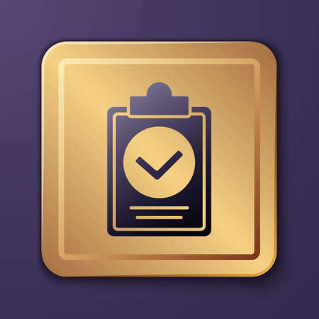 Purple Verification of delivery list clipboard icon isolated on purple background. Gold square button. Vector Illustration. Illusztráció