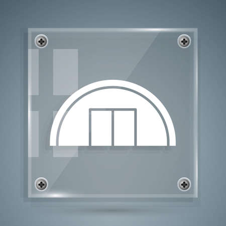White Warehouse icon isolated on grey background. Square glass panels. Vector Illustration.