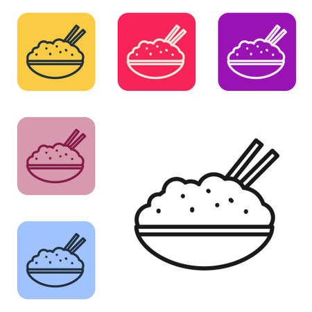 Black line Rice in a bowl with chopstick icon isolated on white background. Traditional Asian food. Set icons in color square buttons. Vector Illustration.