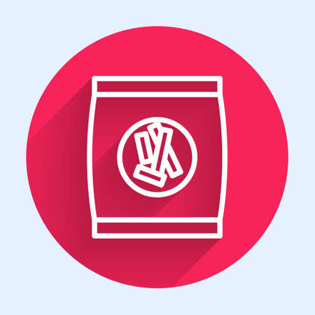 White line Hard bread chucks crackers icon isolated with long shadow. Red circle button. Vector Illustration.