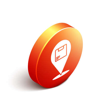 Isometric Location with cardboard box icon isolated on white background. Delivery services, logistic and transportation, distribution. Orange circle button. Vector Illustration.