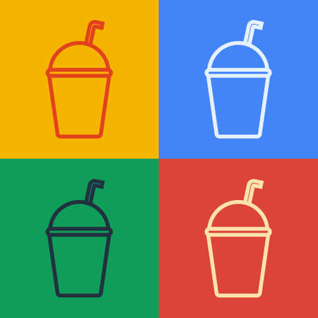 Pop art line Milkshake icon isolated on color background. Plastic cup with lid and straw. Vector Illustration.