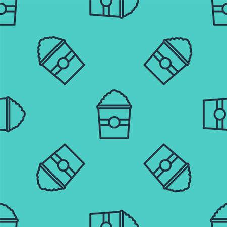 Black line Popcorn in cardboard box icon isolated seamless pattern on green background. Popcorn bucket box. Vector Illustration. Ilustrace