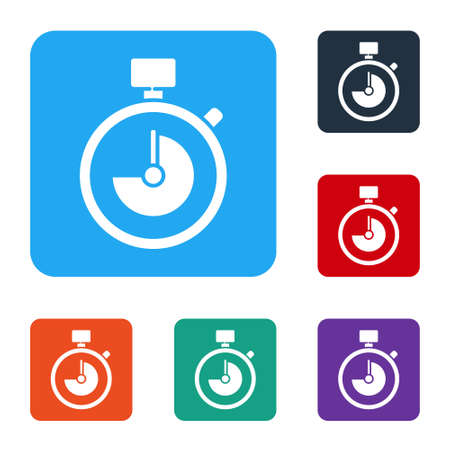 White Stopwatch icon isolated on white background. Time timer sign. Chronometer sign. Set icons in color square buttons. Vector Illustration. Ilustracja