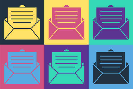Pop art Envelope icon isolated on color background. Email message letter symbol. Vector Illustration. Vectores