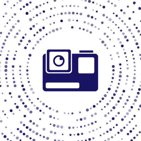 Blue Action extreme camera icon isolated on white background. Video camera equipment for filming extreme sports. Abstract circle random dots. Vector Illustration.