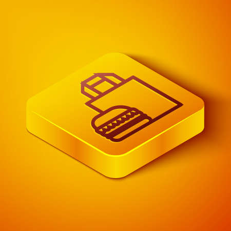 Isometric line Online ordering and burger delivery icon isolated on orange background. Yellow square button. Vector Illustration.