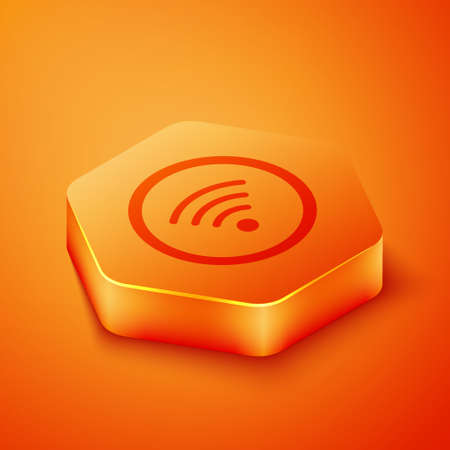 Isometric WiFi wireless internet network symbol icon isolated on orange background. Orange hexagon button. Vector Illustration.