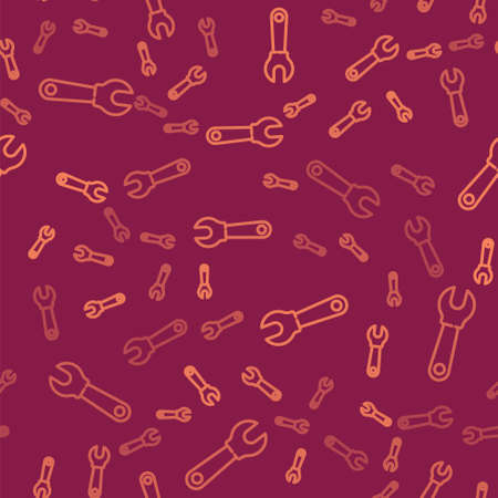 Brown line Wrench spanner icon isolated seamless pattern on red background. Vector Illustration. Archivio Fotografico - 150644721