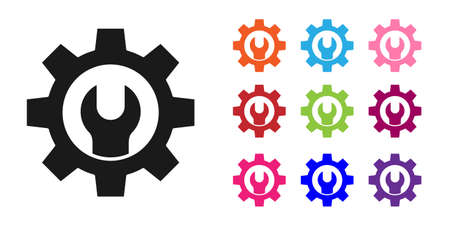 Black Wrench spanner and gear icon isolated on white background. Adjusting, service, setting, maintenance, repair, fixing. Set icons colorful. Vector Illustration. Archivio Fotografico - 150643687