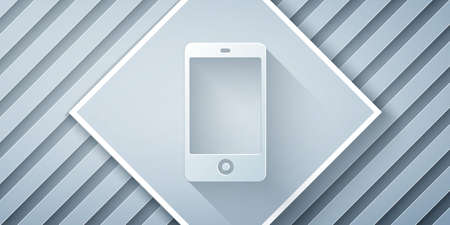 Paper cut Smartphone, mobile phone icon isolated on grey background. Paper art style. Vector Illustration. Çizim