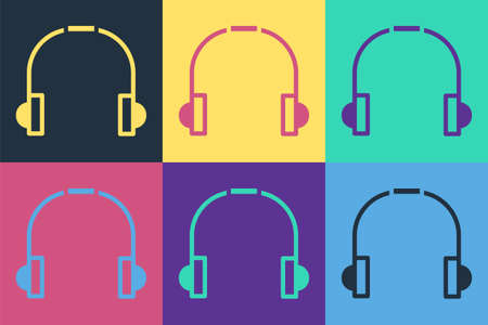 Pop art Headphones icon isolated on color background. Earphones. Concept for listening to music, service, communication and operator. Vector Illustration.