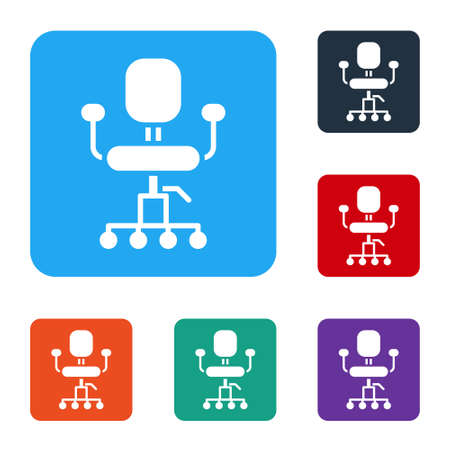 White Office chair icon isolated on white background. Set icons in color square buttons. Vector Illustration.