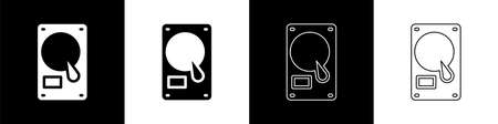 Set Hard disk drive HDD icon isolated on black and white background. Vector Illustration. Çizim