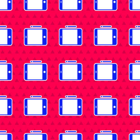 Blue Graphic tablet icon isolated seamless pattern on red background. Vector Illustration.