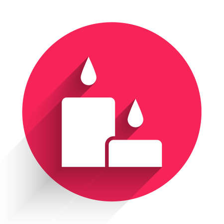 White Burning candle icon isolated with long shadow. Cylindrical candle stick with burning flame. Red circle button. Vector Illustration. Illustration