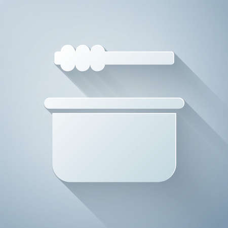 Paper cut Sauna bucket and ladle icon isolated on grey background. Paper art style. Vector Illustration.