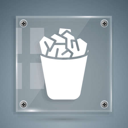 White Full trash can icon isolated on grey background. Garbage bin sign. Recycle basket icon. Office trash icon. Square glass panels. Vector Illustration.