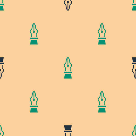 Green and black Fountain pen nib icon isolated seamless pattern on beige background. Pen tool sign. Vector Illustration.