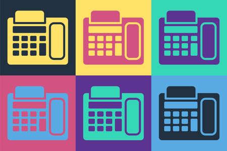 Pop art Telephone icon isolated on color background. Landline phone. Vector Illustration.