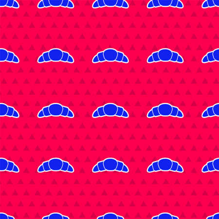 Blue Croissant icon isolated seamless pattern on red background. Vector Illustration.