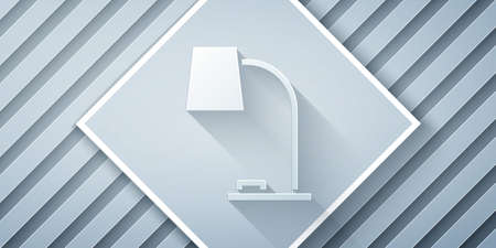 Paper cut Table lamp icon isolated on grey background. Table office lamp. Paper art style. Vector Illustration. 일러스트