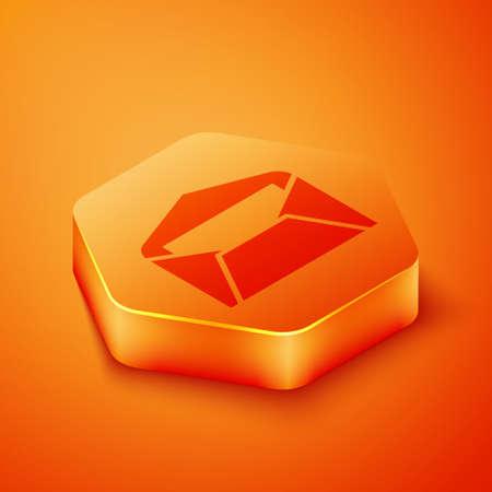 Isometric Envelope icon isolated on orange background. Email message letter symbol. Orange hexagon button. Vector Illustration.