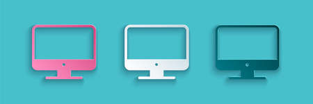 Paper cut Computer monitor screen icon isolated on blue background. Electronic device. Front view. Paper art style. Vector Illustration.