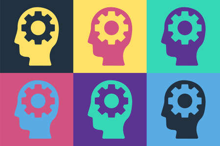Pop art Human head with gear inside icon isolated on color background. Artificial intelligence. Thinking brain. Symbol work of brain. Vector Illustration.