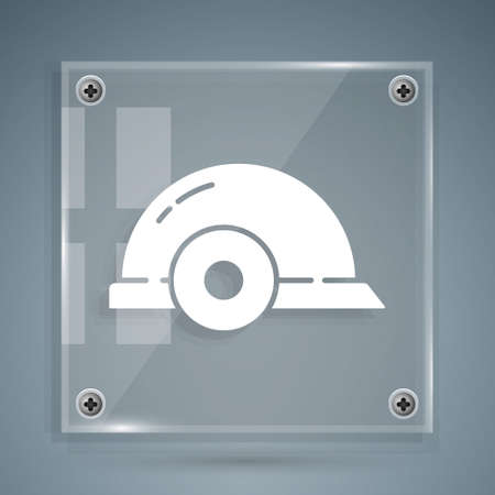 White Worker safety helmet icon isolated on grey background. Square glass panels. Vector Illustration.