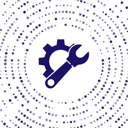 Blue Wrench spanner and gear icon isolated on white background. Adjusting, service, setting, maintenance, repair, fixing. Abstract circle random dots. Vector Illustration. Vettoriali