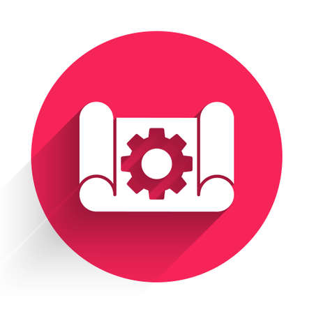 White Graphing paper for engineering and gear icon isolated with long shadow. Red circle button. Vector Illustration.