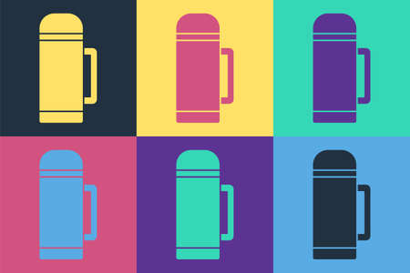 Pop art container icon isolated on color background. Thermo flask icon. Camping and hiking equipment. Vector Illustration.