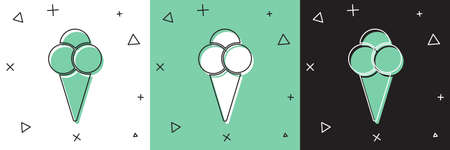 Set Ice cream in waffle cone icon isolated on white and green, black background. Sweet symbol. Vector Illustration.