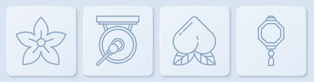 Set line Lotus flower, Peach fruit, Gong and Chinese paper lantern. White square button. Vector. 矢量图像