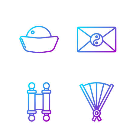 Set line Paper chinese folding fan, Decree, paper, parchment, scroll, Sushi and Yin Yang and envelope. Gradient color icons. Vector.