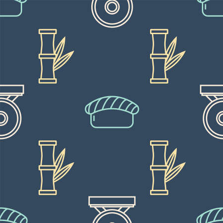 Set line Gong, Bamboo and Sushi on seamless pattern. Vector.